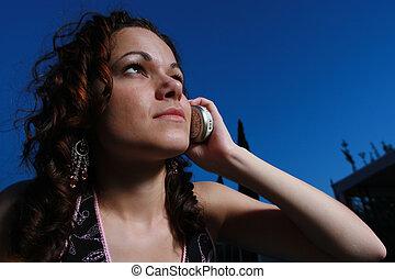 frau, junger, berufung, mobilfunk, nacht