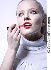 frau, junger, hübsch, lippenstift