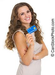 frau, junger, kredit, besitz, porträt, karte, glücklich