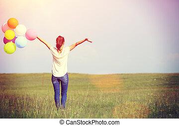 frau, junger, luftballone