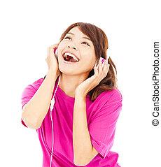 frau, junger, musik, genießen, schöne