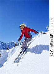 frau, junger, ski fahrend