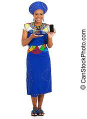frau, junger, telefon, präsentieren, afrikanisch, klug