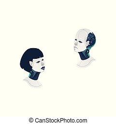 frau, köpfe, cyborg, vektor, mann, karikatur, ikone