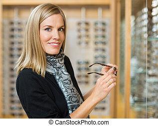 frau, kaufmannsladen, optiker, Besitz, Brille