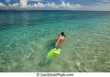 frau, klar, seicht, junger, wasser, snorkeling