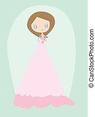 frau, kleiden, junger, wedding