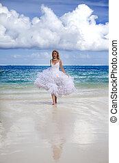 frau, kleiden, meer, wedding