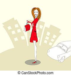frau, kleiden, rotes