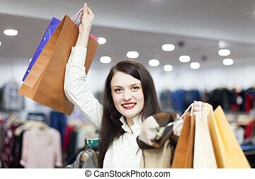 frau, kleidung, kaufmannsladen