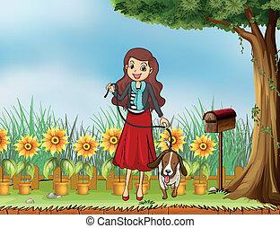 frau, kleingarten, hund