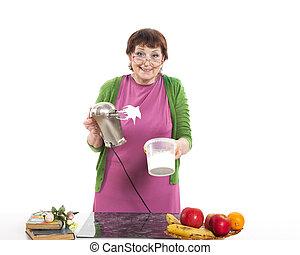 frau, kochen