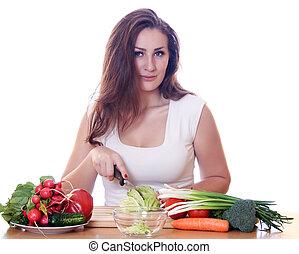 frau, kochen, gesundes essen