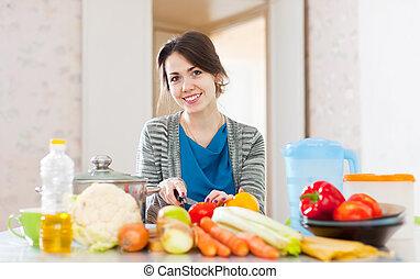 frau, kochen, vegetarisches essen