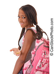 frau, kondom, amerikanische , student, afrikanisch
