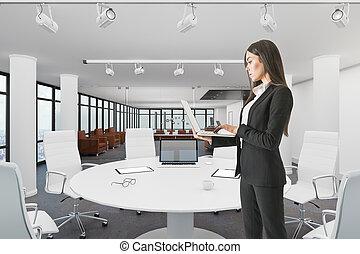frau, konferenzzimmer