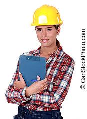 frau, konstruktion industrie, ingenieur