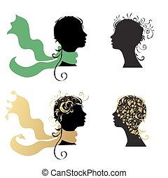frau, kopf, silhouette, schöne