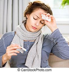 frau, krank, thermometer., kopfschmerzen