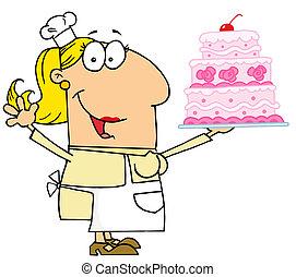 frau, kuchen, bäcker, kaukasier, karikatur