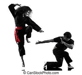 frau, kung fu, pencak, silat, freigestellt
