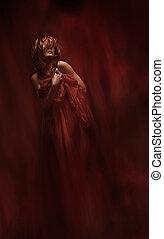 frau, kunst, stoff, aus, roter hintergrund, abstrakt, sinnlich
