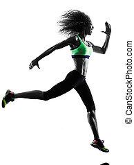 frau, läufer, jogger, rennender , jogging, silhouette