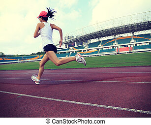 frau, läufer, junger, fitness, rennender