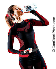 frau, läufer, rennender , freigestellt, jogger, jogging, hintergrund, weißes, overall