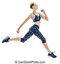 frau, läufer, rennender , freigestellt, jogger, jogging, hintergrund, weißes