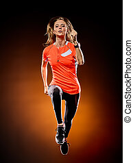 frau, läufer, rennender , freigestellt, jogger, jogging