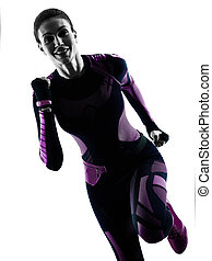frau, läufer, rennender , jogger, jogging, freigestellt, silhouette, schatten
