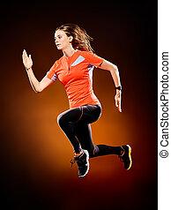 frau, läufer, rennender , jogger, jogging, freigestellt