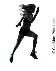 frau, läufer, rennender , jogger, jogging, silhouette