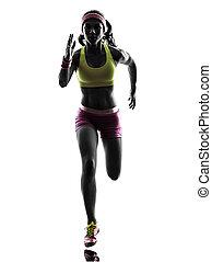 frau, läufer, rennender , silhouette