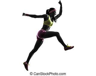 frau, läufer, rennender , springende , schreien, silhouette