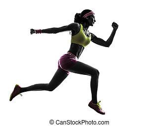 frau, läufer, rennender , springende , silhouette
