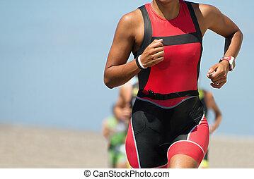 frau, läufer, rennender