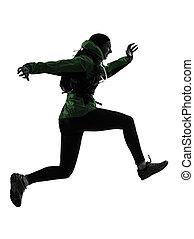 frau, läufer, rennender , trecken, silhouette