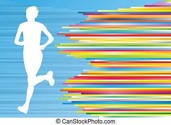 frau, läufer, silhouette, vektor, hintergrund, schablone, begriff