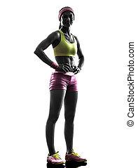 frau, läufer, trainieren, posierend, silhouette