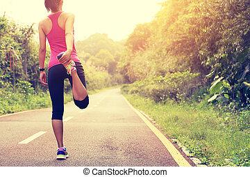 frau, läufer, warmlaufen, draußen