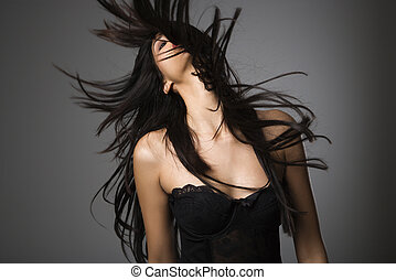 frau, langer, hair.
