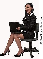 frau, laptop, arbeitende , sitzen