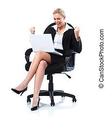 frau, laptop., geschaeftswelt, glücklich