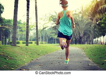 frau, lebensstil, sportliche , gesunde, park, junger, tropische , rennender , asiatisch
