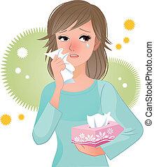 frau, leidensdruck, von, blütenstaub, allergi