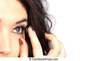 frau, lense, junger, kontakt