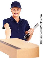 frau, liefern, a, postpaket, für, sie