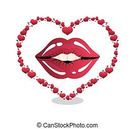frau, lippen, herz- form